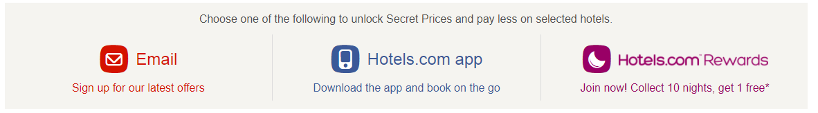 Hotels.com secret prices