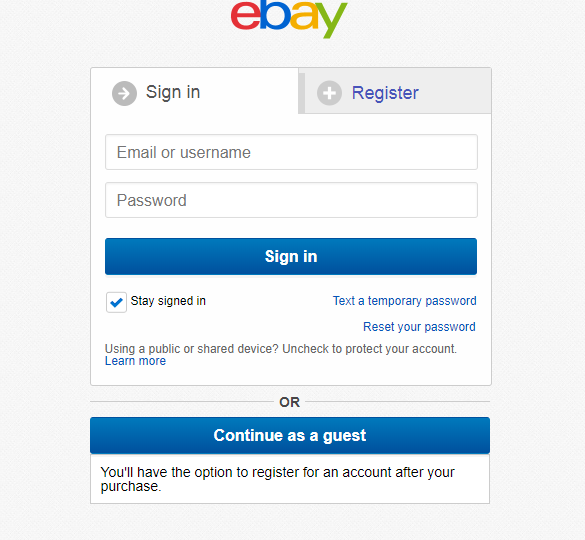 eBay sign in