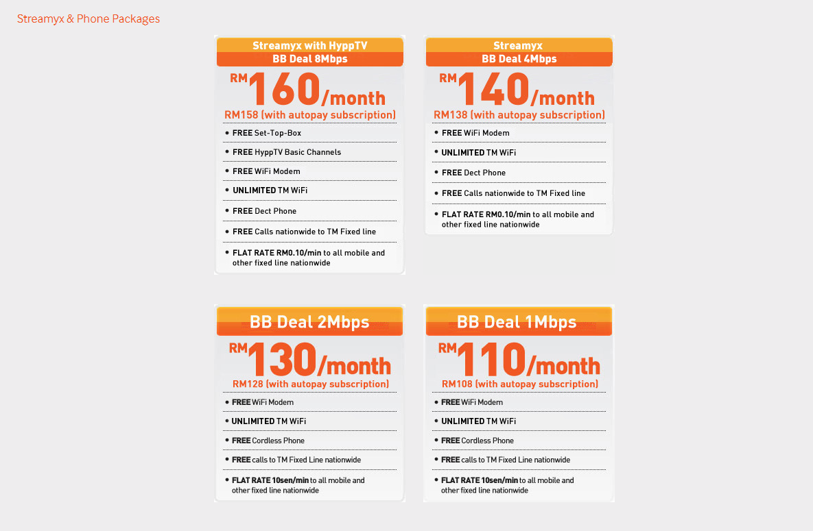 Streamyx Phone Plans