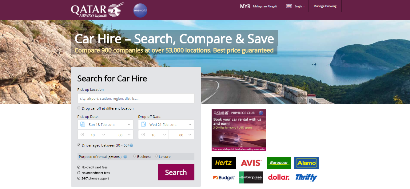Qatar Airways Car Hire