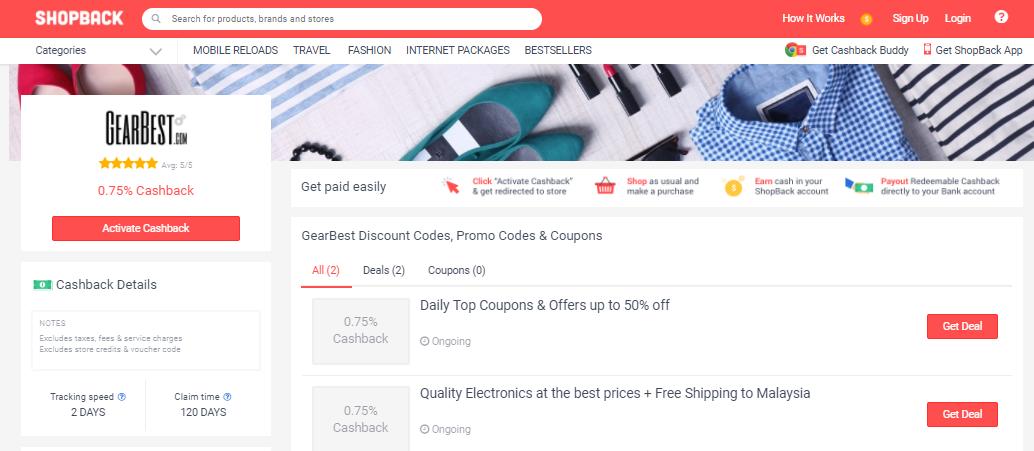 GearBest Shopback