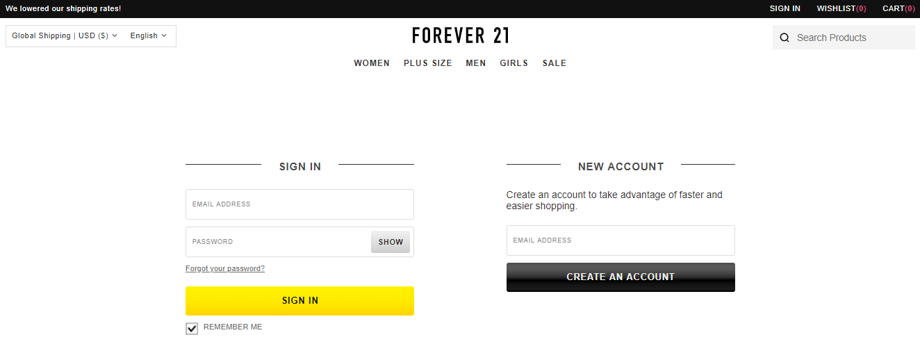 Forever 21 Account