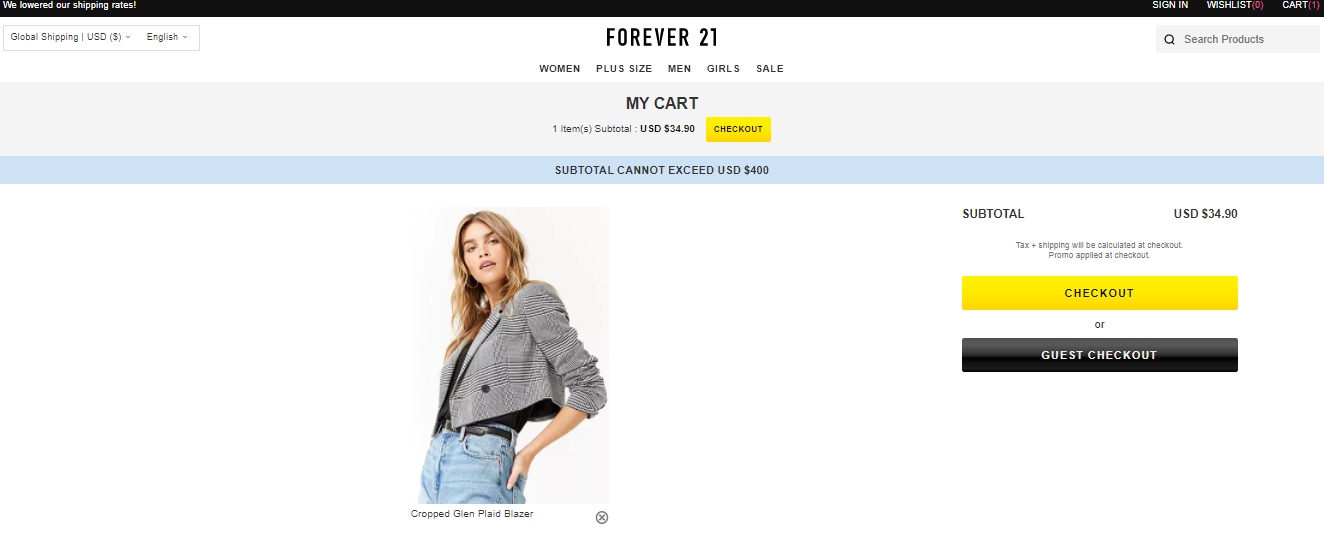 Forever 21 Checkout