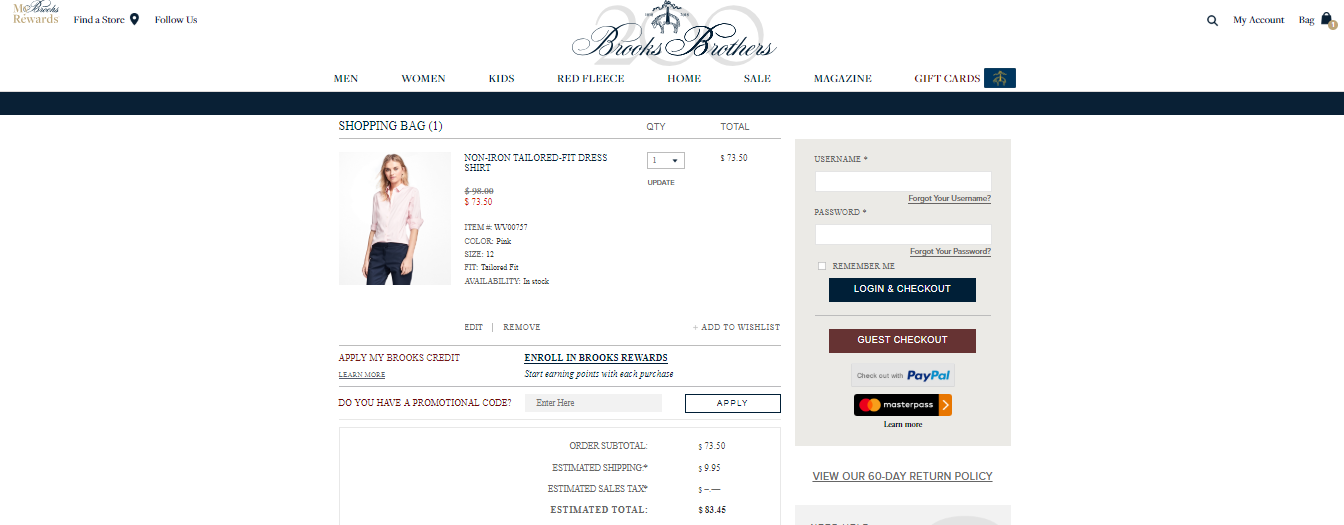 Brooks Brothers Checkout