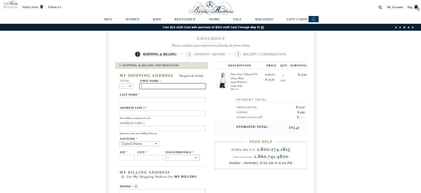 Brooks Brothers Checkout Categories