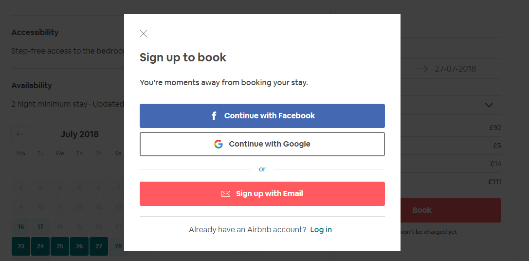 Airbnb Sign Up