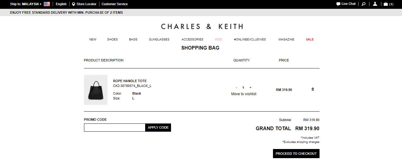Charles & Keith Shopping Bag