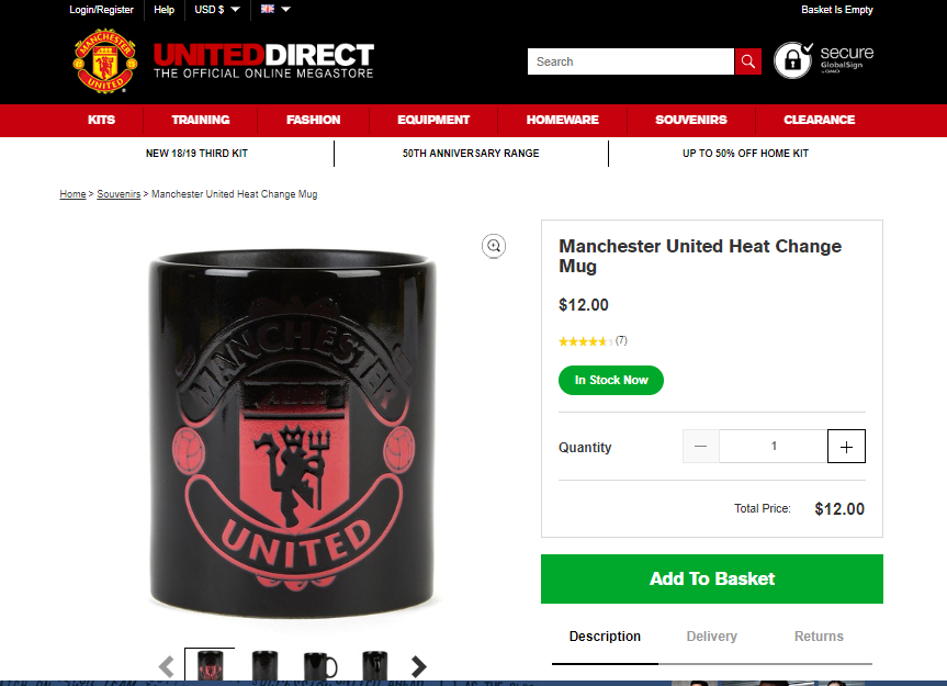 Manchester United Store Checkout