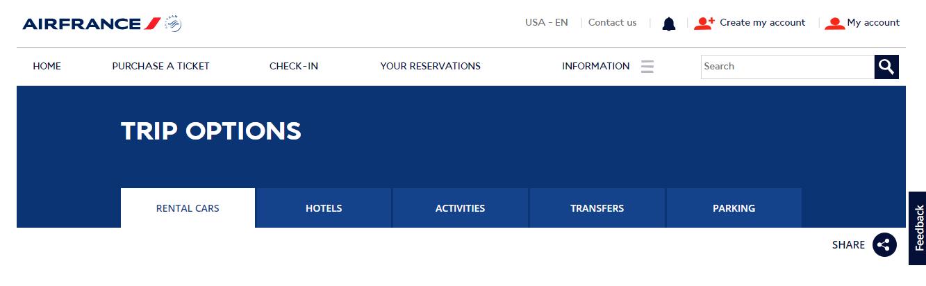 Air France Trip Options