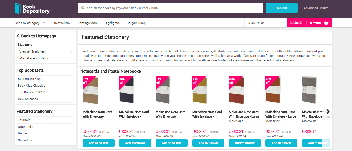 Book Depository Browse Stationery