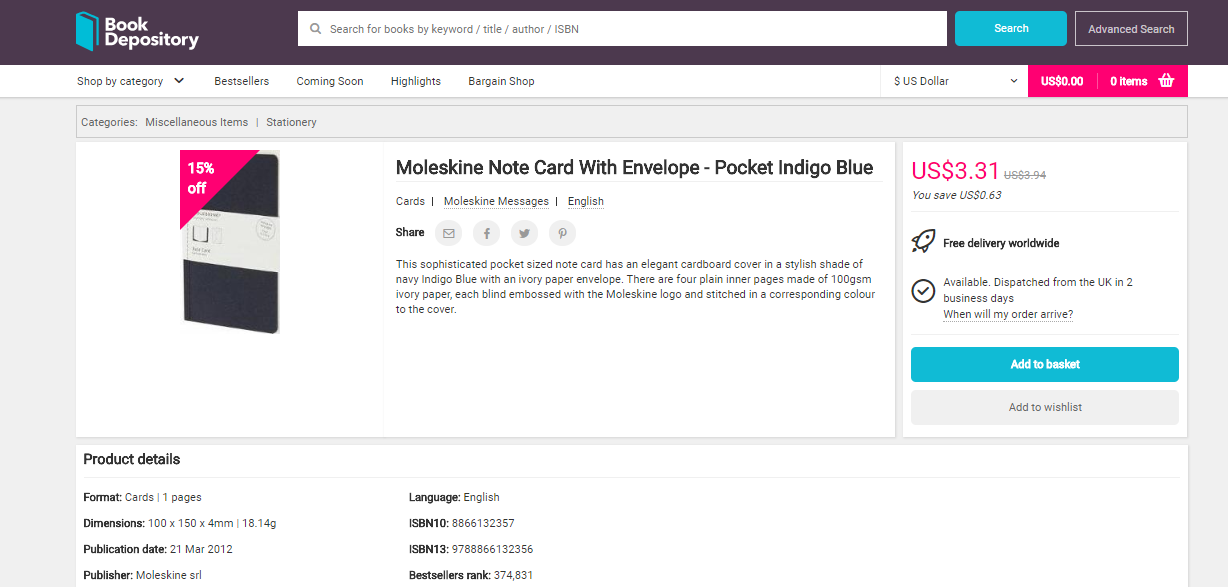 Book Depository Product Details