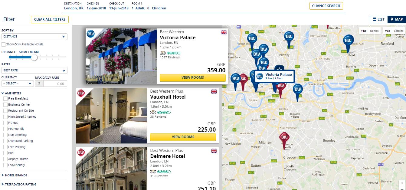 Best Western Hotels & Resorts Listings