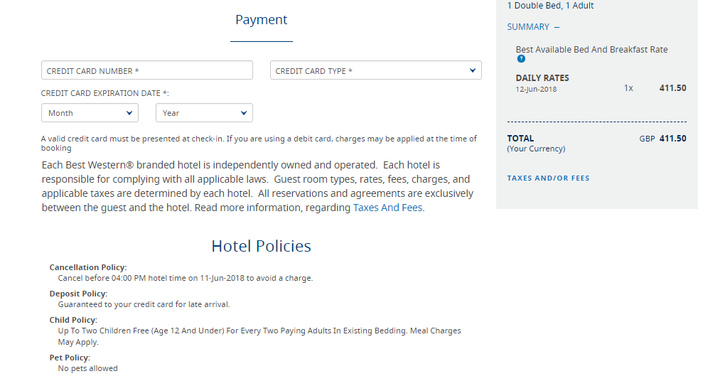 Best Western Hotels & Resorts Booking Summary