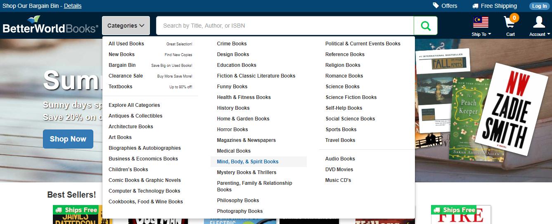 Better World Books Categories