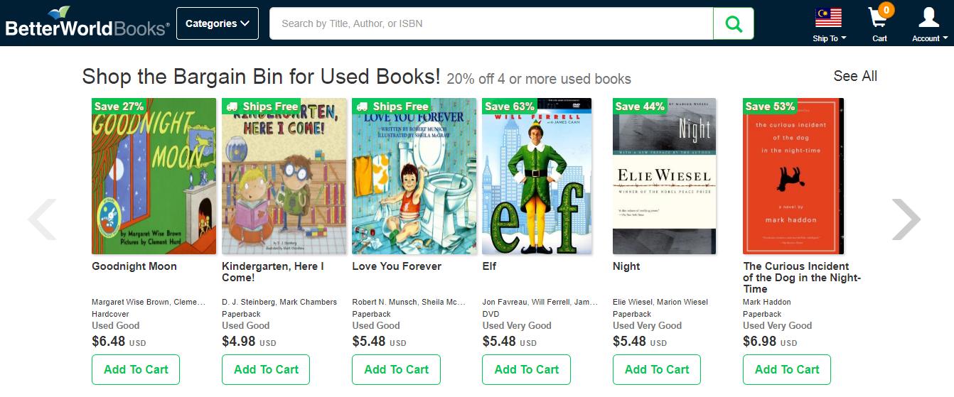 Better World Books Bargain Bin