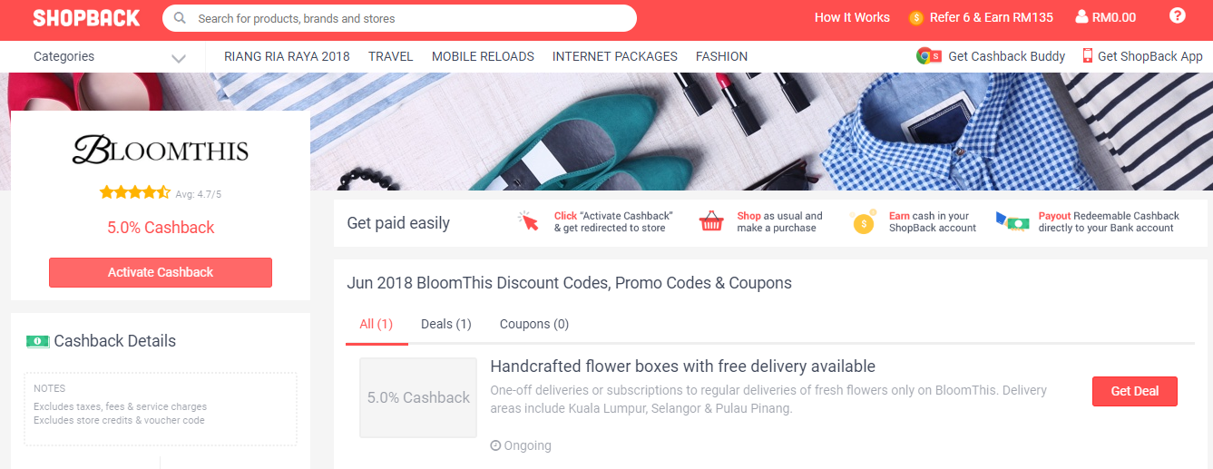 BloomThis Florist ShopBack Discount Codes, Promo Codes & Coupons
