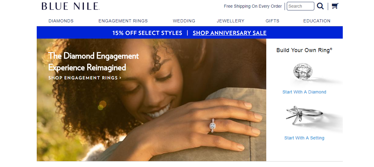 Blue Nile Jewellery Homepage