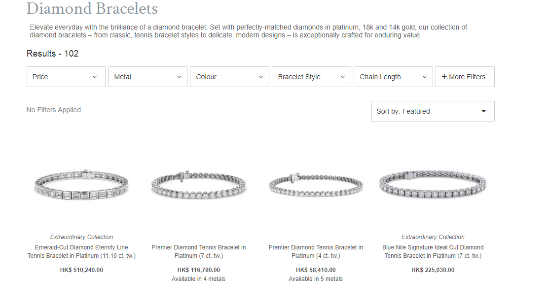Blue Nile Jewellery product listings