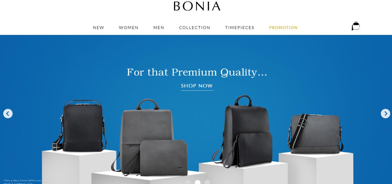 Bonia homepage