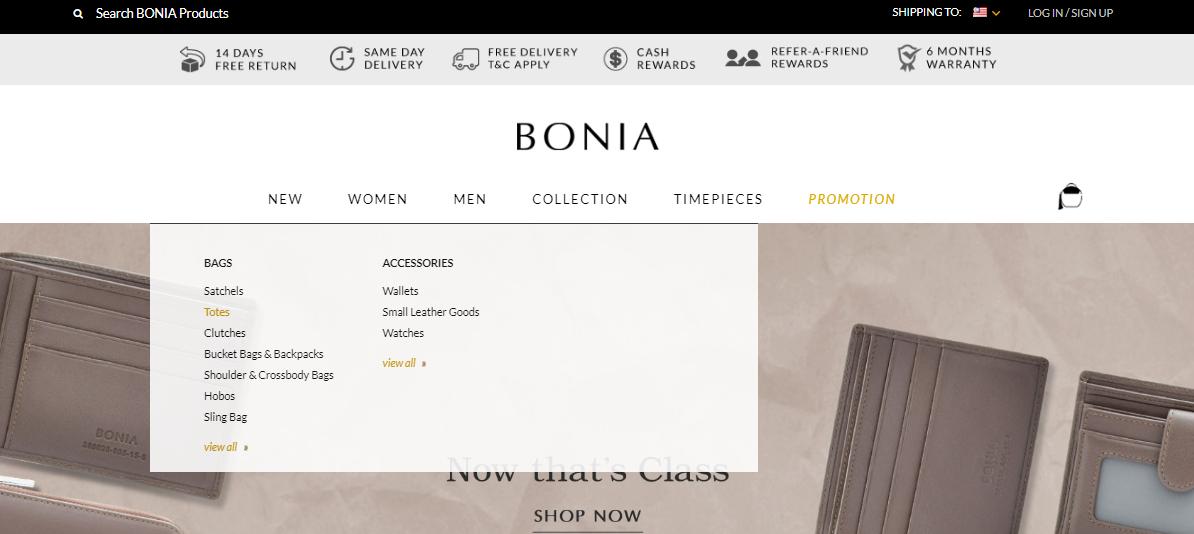 Bonia categories