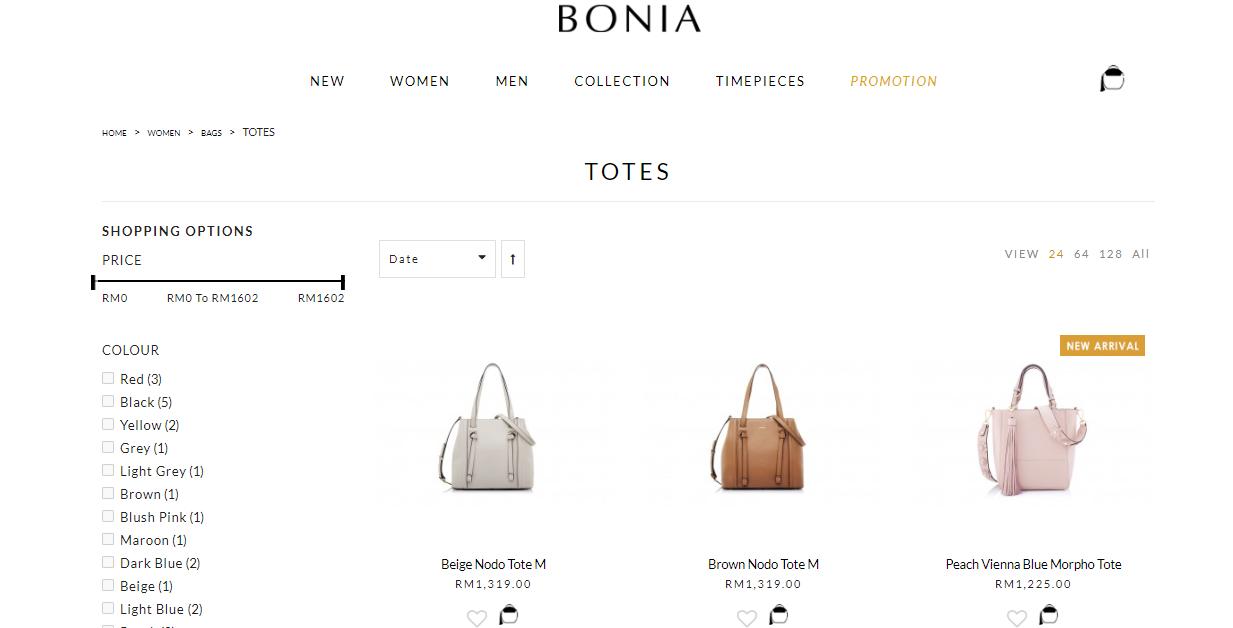 Bonia product listings
