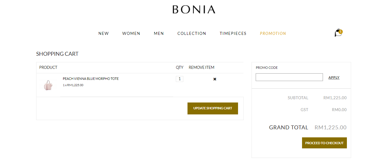 Bonia shopping cart