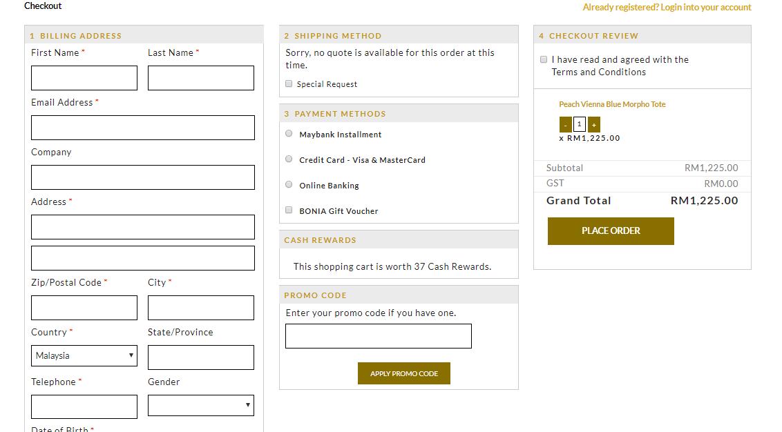 Bonia payment details