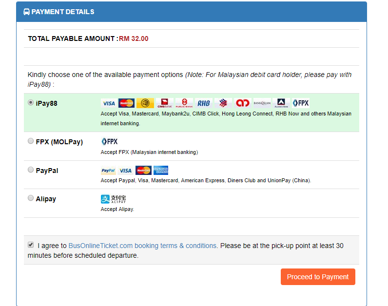 BusOnlineTicket payment details