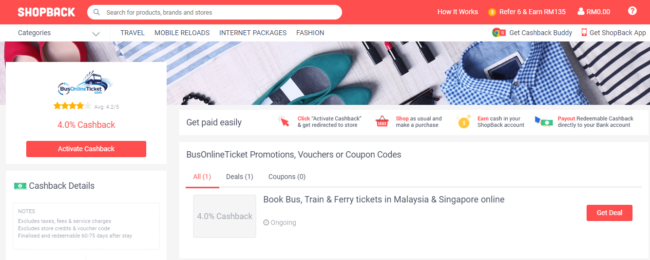 BusOnlineTicket ShopBack Promotions, Vouchers or Coupon Codes