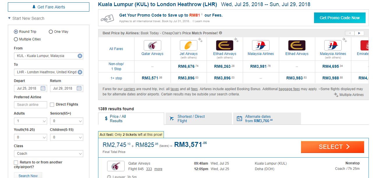 CheapOair flight listings