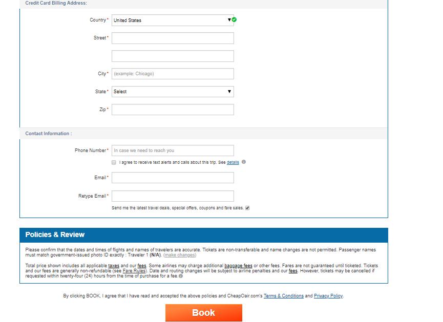 CheapOair payment details