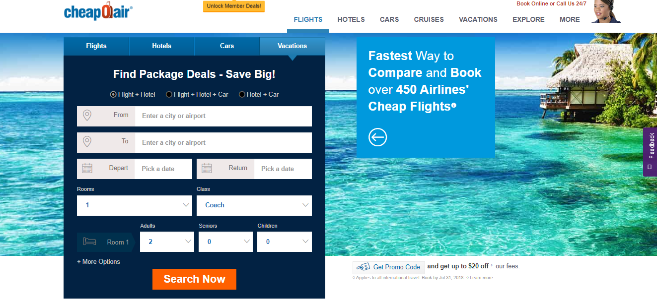 CheapOair package deals