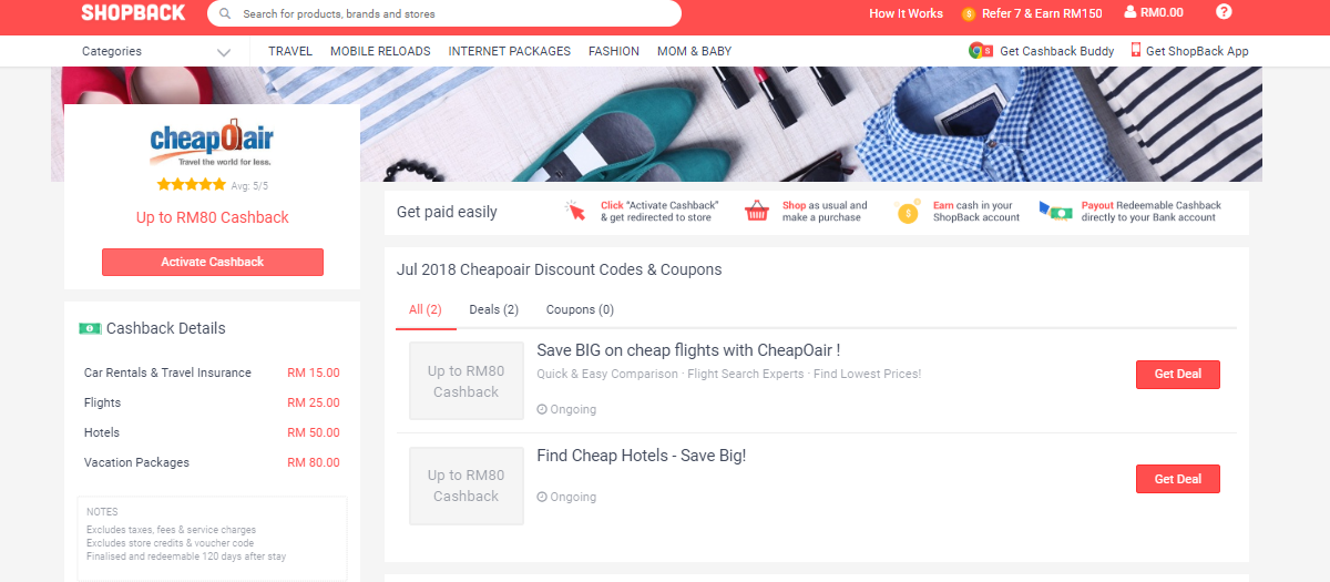 CheapOair ShopBack discount codes & coupons