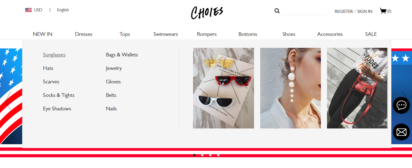 Choies homepage browse category