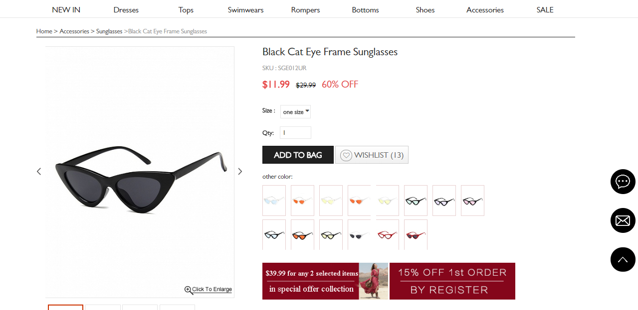 Choies black cat eye frame sunglasses product information