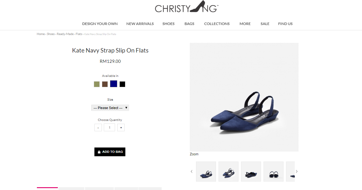 ChristyNg Kate Navy Strap Slip On Flats product information