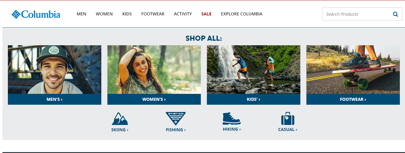 Columbia Sportswear homepage