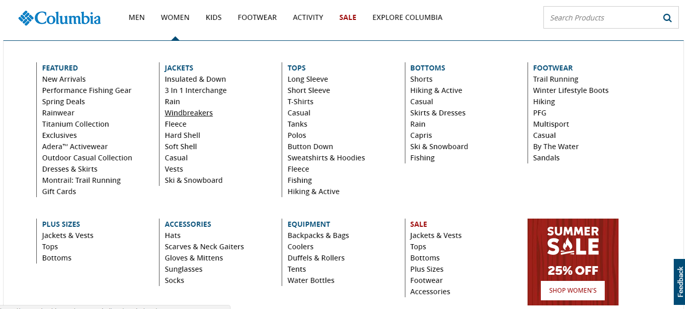 Columbia Sportswear categories