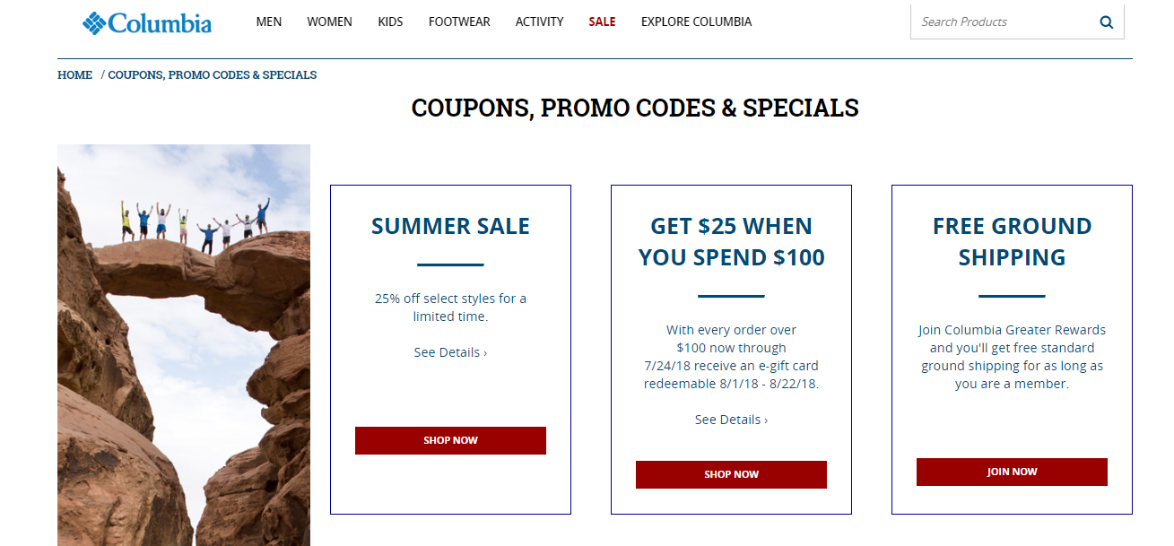Columbia Sportswear coupons, promo codes and specials