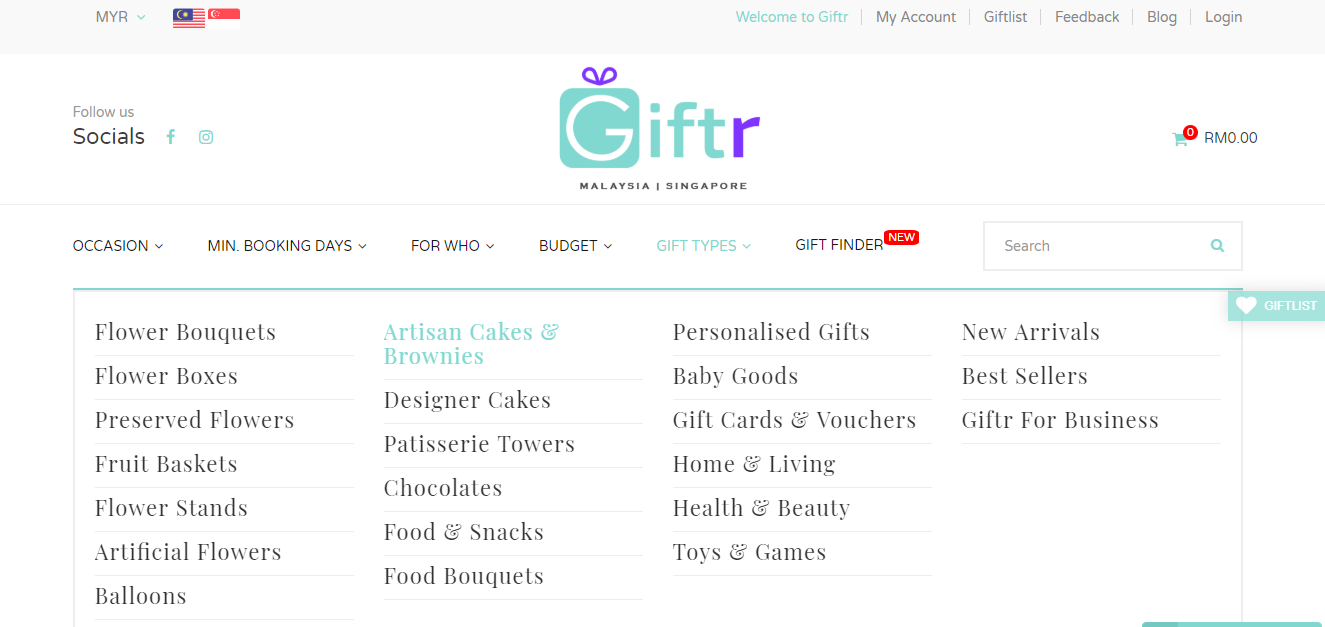 Giftr browse category