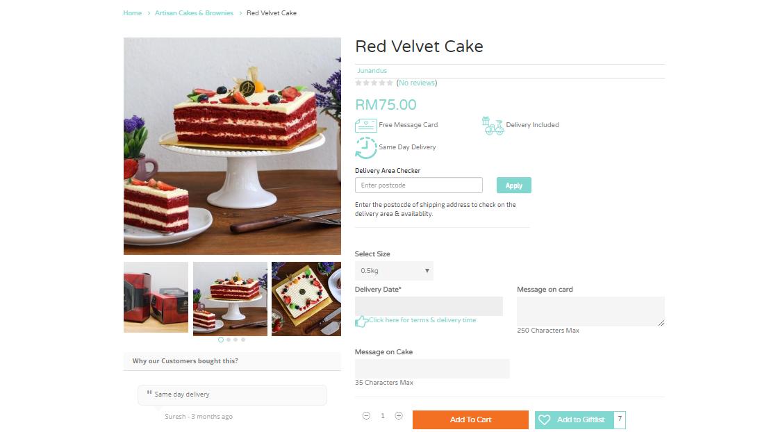 Giftr red velvet cake