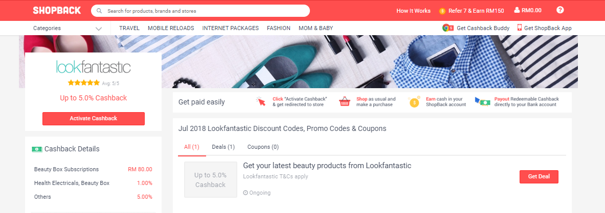 LookFantastic ShopBack.my discount codes, promo codes & coupons