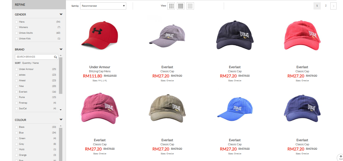 sports direct caps