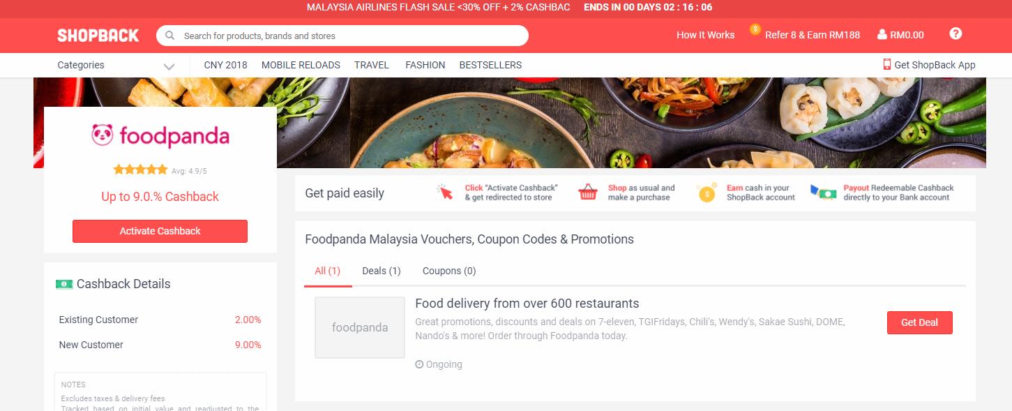 foodpanda shopback page