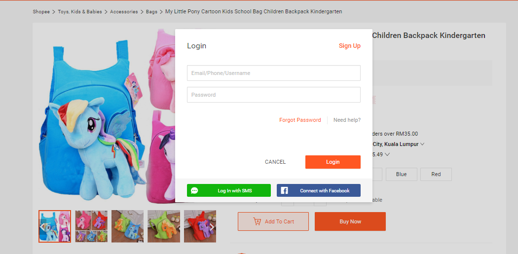 shopee log in to account page