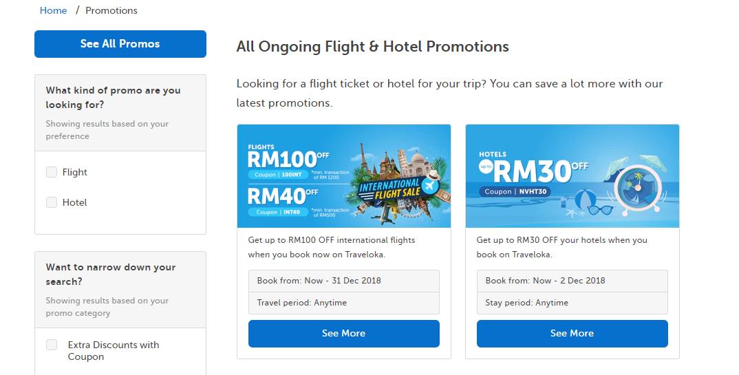 traveloka ongoing flight& hotel promotions