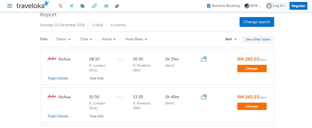 traveloka flight search results