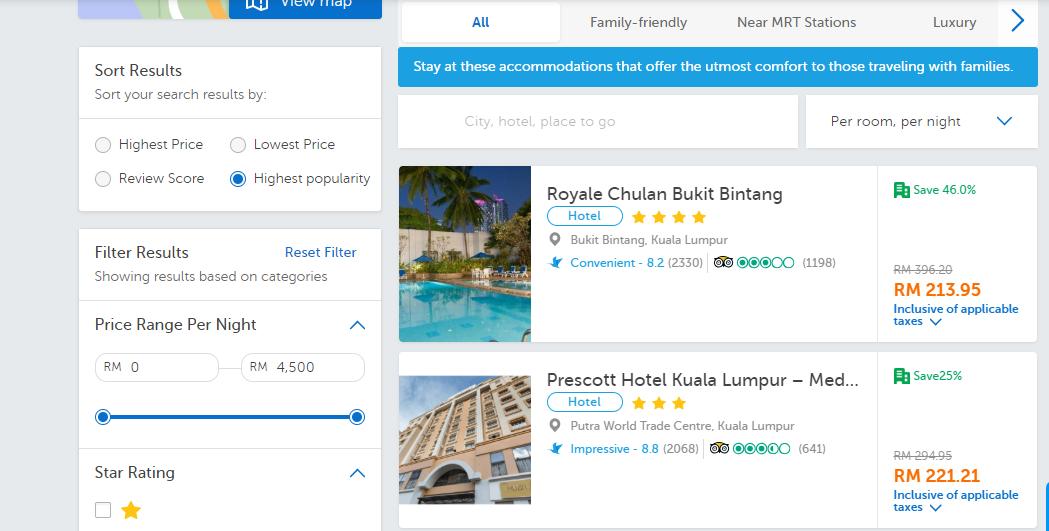 traveloka hotel search results