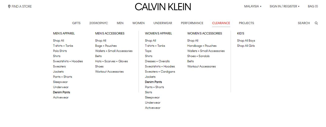 calvin klein product categories