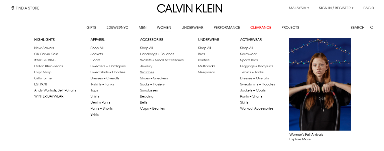 calvin klein product category